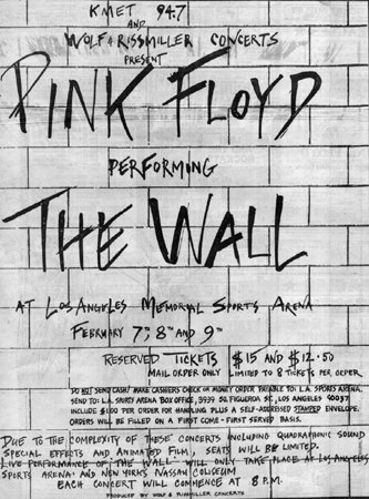 Concert Poster for Pink Floyd's 1980 The Wall tour