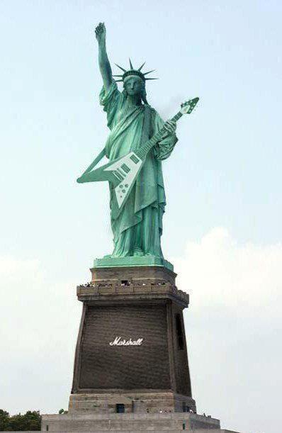 Photoshop of Lady Liberty Atop A Marshall Amp & Playing a Flying V Guitar
