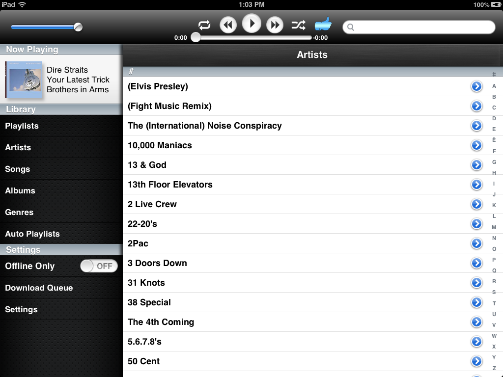 Screenshot of the Gmusic iPad app