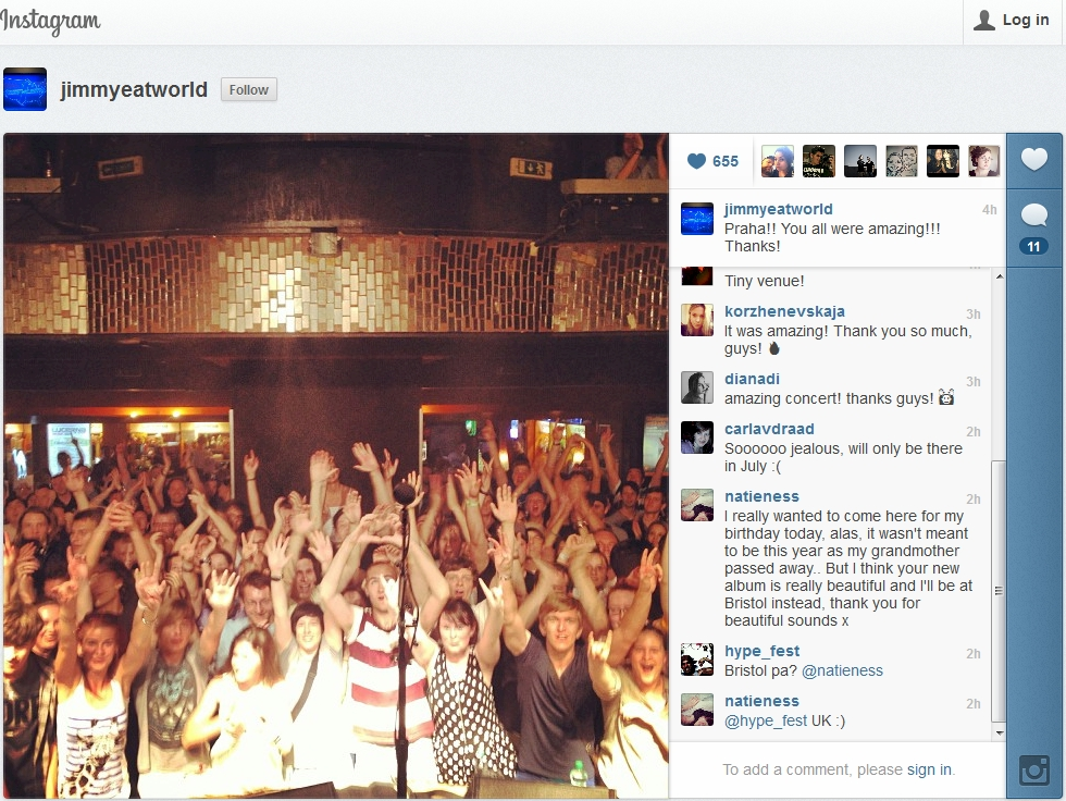 Screenshot - Jimmy Eat World Uses Instagram To Thank Fans