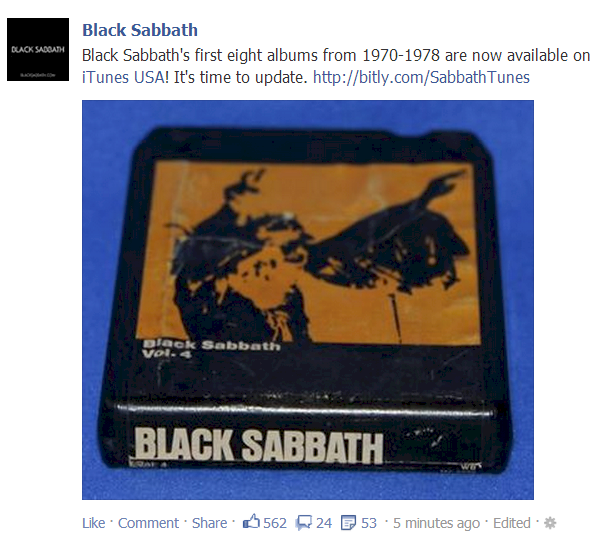 Screenshot: Black Sabbath Albums On iTunes - Facebook Ad