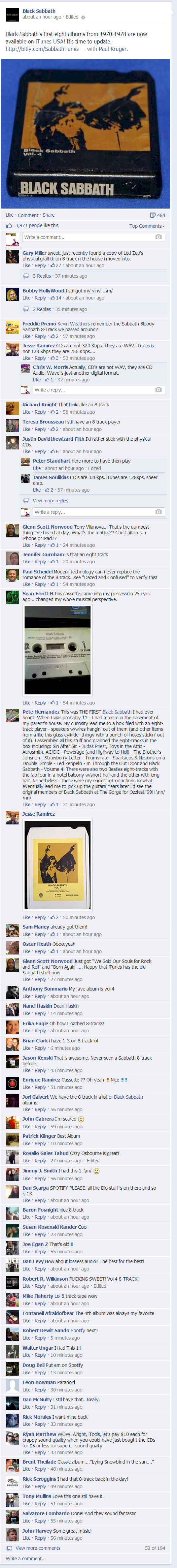 Screenshot - Black Sabbath Albums On iTunes Facebook Post Comment Thread
