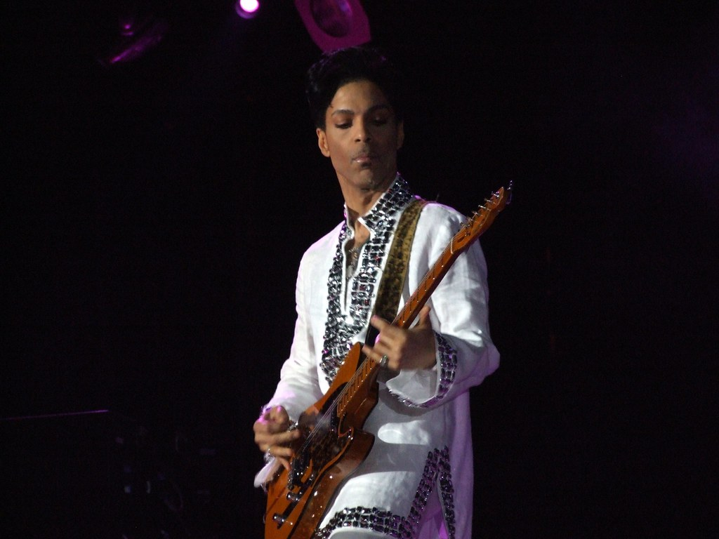 Prince playing a Fender Telecaster